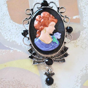Jewelry - Hand Painted Cameo Brooch w/ Black Rhinestones